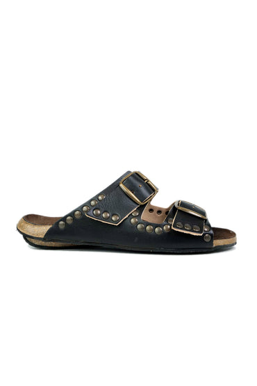 BOSABO 430-RIVETS BLACK STUDDED SANDAL
