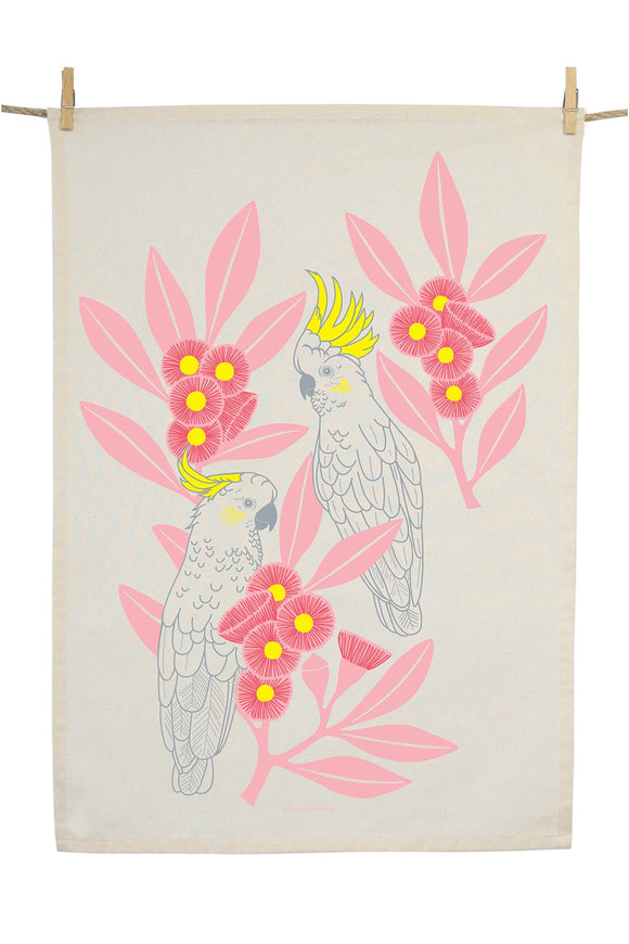 EARTH GREETINGS SILVER GUM COCKATOOS TEA TOWEL
