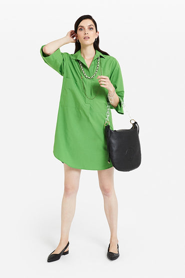 ottodame-DA4040-green-cotton-shirt-dress