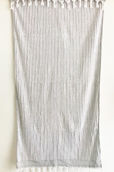 TURKISH OTTOMAN HAND LOOMED WHITE LARGE TOWEL