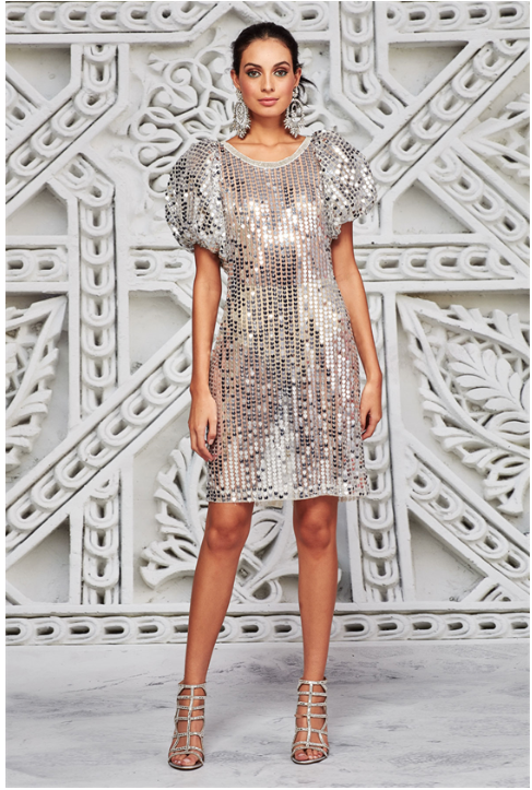 TRELISE COOPER SLEEVE MCQUEEN DRESS SILVER