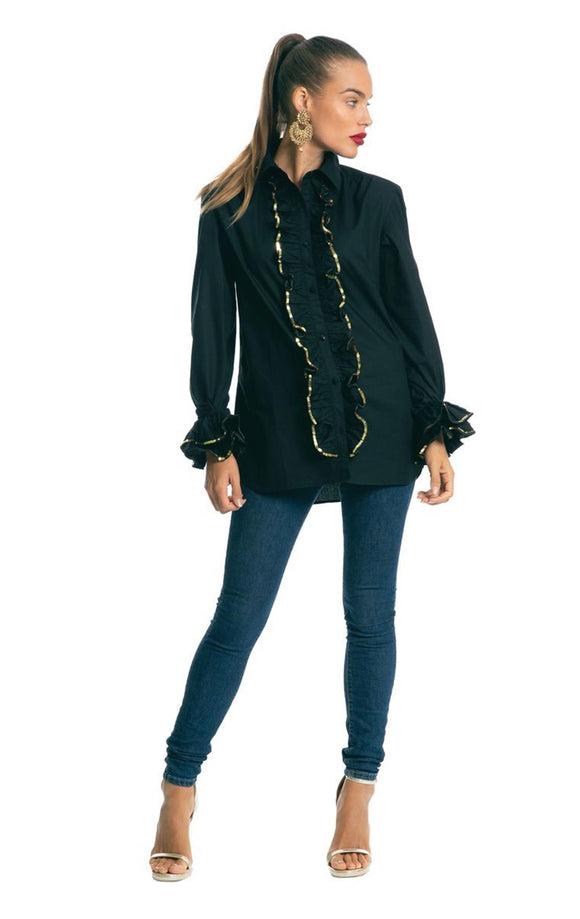 BONITA THE BLACK SEQUINNED RUFFLE SHIRT