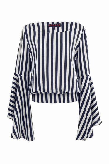 COOPER WORN WITH FLARE STRIPE TOP