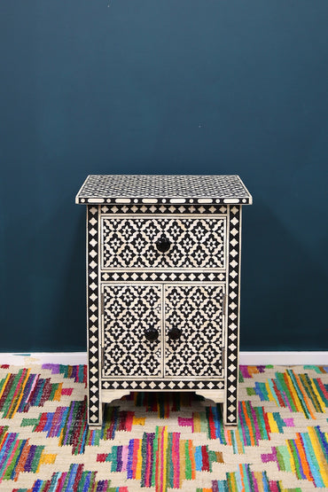 RUBY STAR TRADERS BONE INLAY SIDE CABINET BLACK GEOMETRIC
