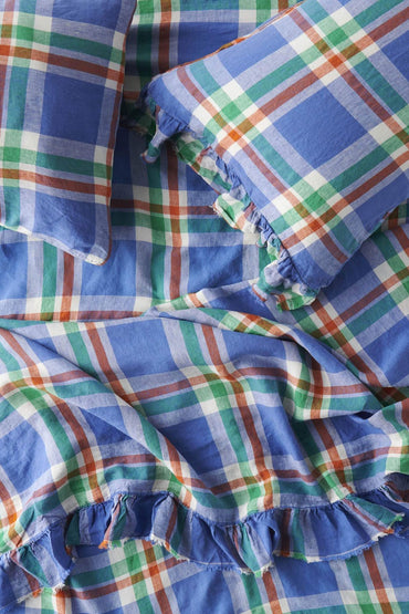 SOCIETY OF WANDERERS CORNFLOWER CHECK FITTED SHEET