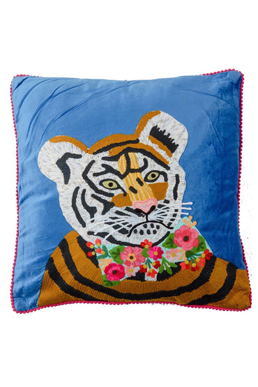 RUBY STAR TRADERS TIGER BLUE VELVET CUSHION 45 X 45CM