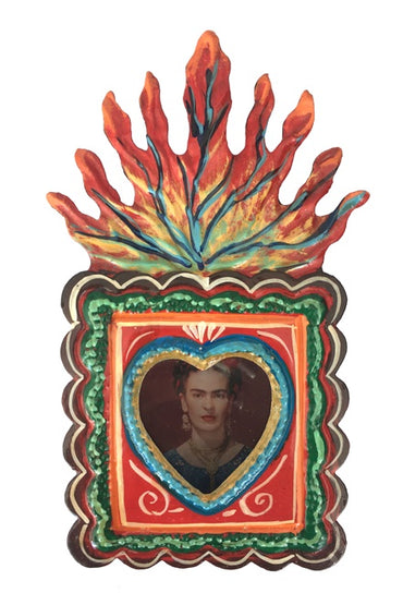 FRIDA KAHLO TIN NICHE WITH FLAMES