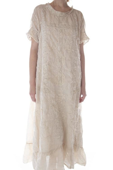 MAGNOLIA PEARL RAMIE ANNA GRACE EMBROIDERED ROSES DRESS O/S