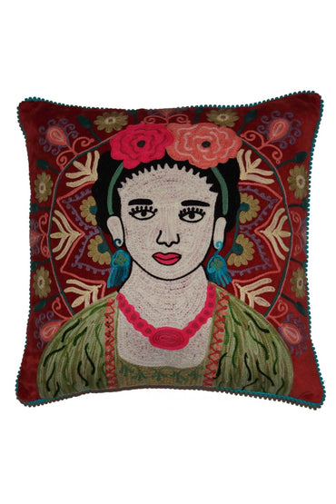 RUBY STAR TRADERS FRIDA RUST VELVET CUSHION 45 X 45CM