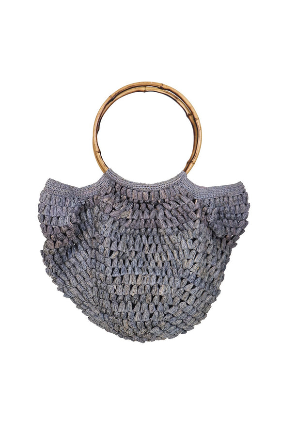 MADE IN MADA IZIA RAFFIA BAG BLUE/GREY