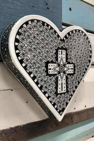 LOST & FOUND ART CO HEART WOODBLOCK OPULENT CROSS