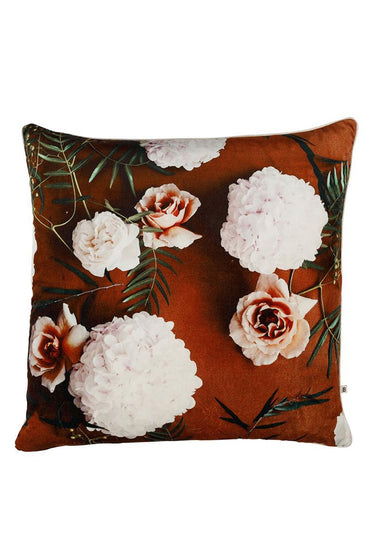 BONNIE & NEIL AUTUMN ROSE RUST VELVET CUSHION 50CM