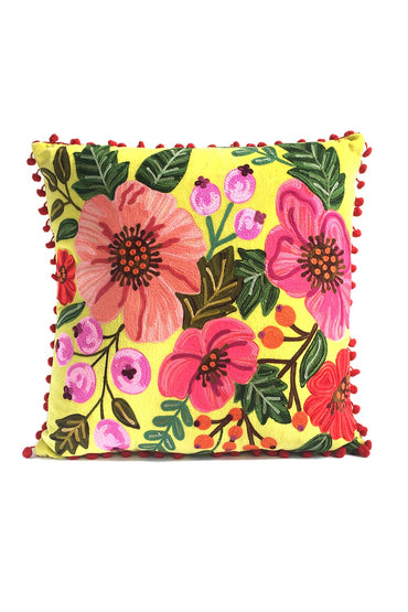RUBY STAR TRADERS HIBISCUS GARDEN 45 X 45 CUSHION YELLOW