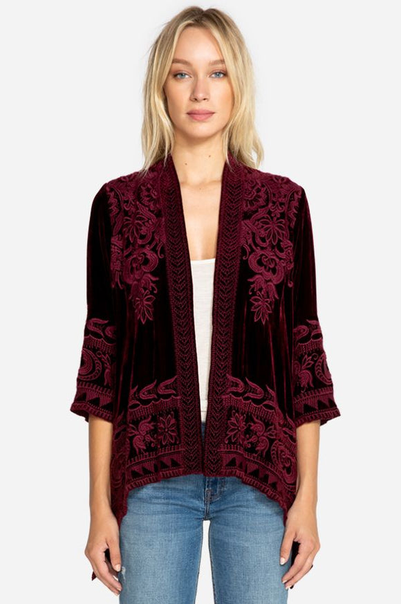 JOHNNY WAS HIRSCH VELVET DRAPED CARDIGAN BURGUNDY
