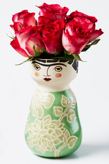 JONES & CO FRIDA FACE VASE GREEN