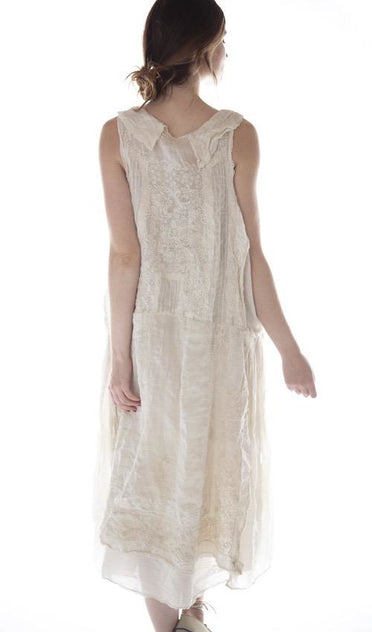 MAGNOLIA PEARL RAMIE EMBROIDERED HALSEY DRESS O/S