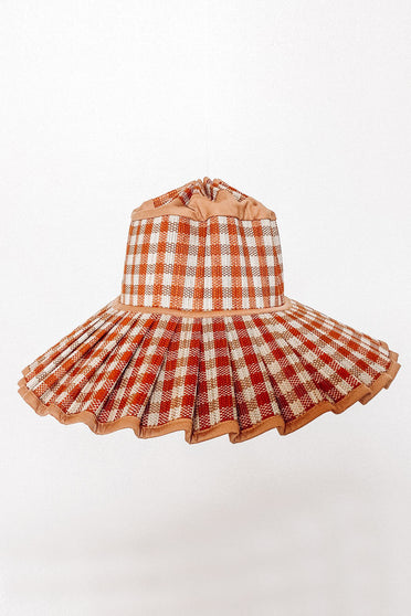 LORNA MURRAY SPICE ISLAND CAPRI HAT TAN GINGHAM