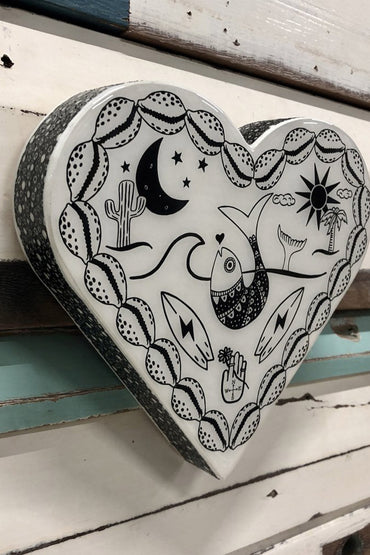 LOST & FOUND ART CO HEART WOODBLOCK OCEAN ROAMER