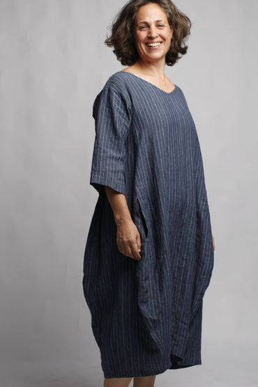 MUSE LUCIA LINEN DRESS DENIM STRIPE