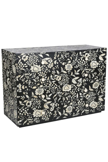 RUBY STAR TRADERS BONE INLAY 5-DRAWER CHEST CHINTZ BLACK