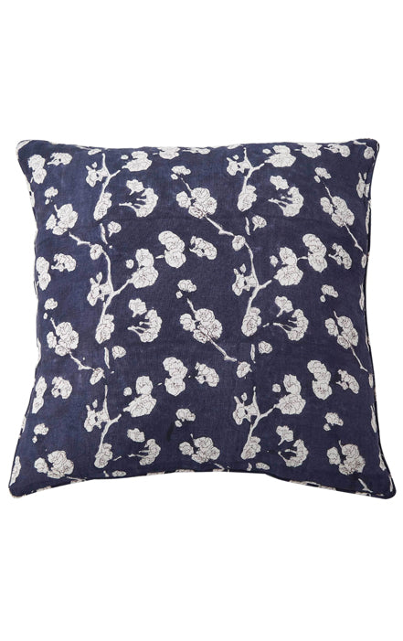 RUBY STAR TRADERS BLOCK PRINTED LINEN CUSHION BLUE