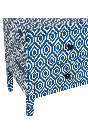 RUBY STAR TRADERS BONE INLAY LONG 2-DRAWER BLUE IKAT