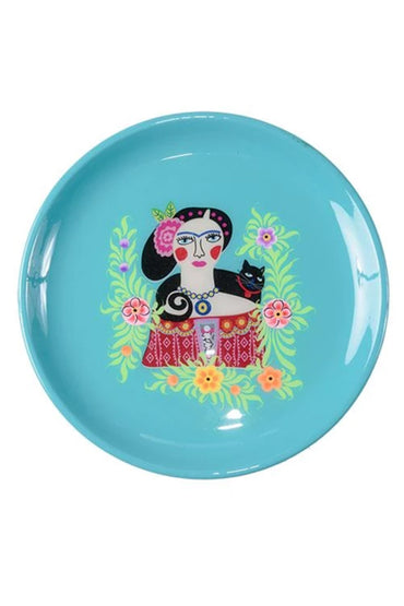 RUBY STAR TRADER FRIDA BLACK CAT TRAY TURQUOISE