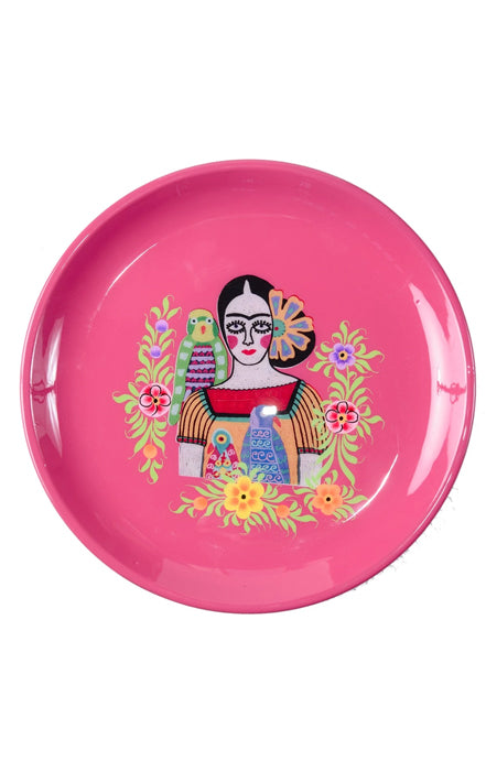 RUBY STAR TRADER FRIDA THREE PARROTS TRAY FUCHSIA