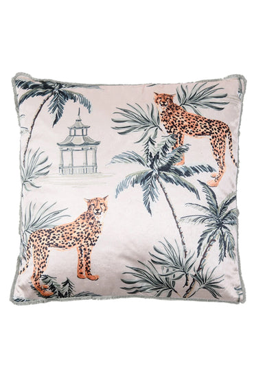 RUBY STAR TRADER CHEETAH CUSHION WHITE MULTI POLY VELVET 45X45
