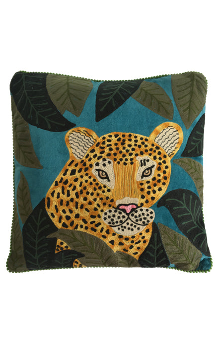 RUBY STAR TRADERS LEOPARD CUSHION 45 X 45 TEAL