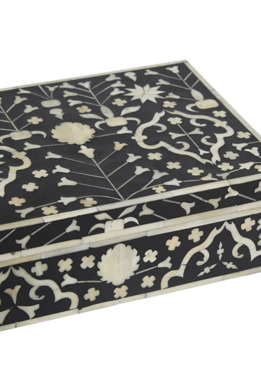 RUBY STAR TRADERS MOGHUL FLOWER BONE INLAY BOX BLACK/NATURAL