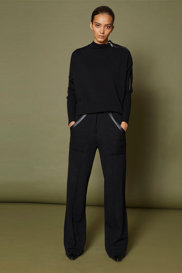 SABATINI WIDE LEG PANT WITH LEATHER TRIM BLACK