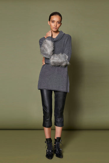 SABATINI FAUX FUR CUFF JUMPER CHARCOAL