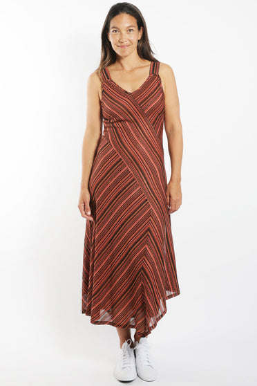 SABATINI METALLIC STRIPE DRESS RUST