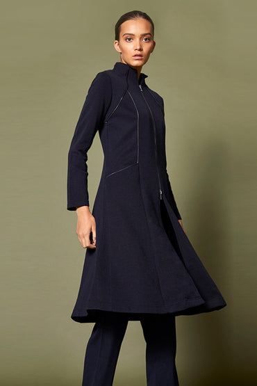 SABATINI SWING LEATHER PIPED COAT