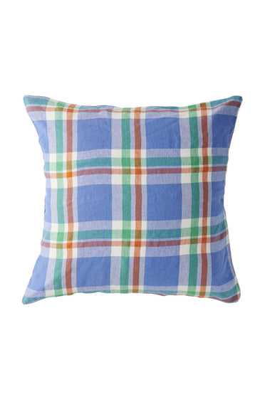 SOCIETY OF WANDERERS CORNFLOWER CHECK PILLOW CASE SET
