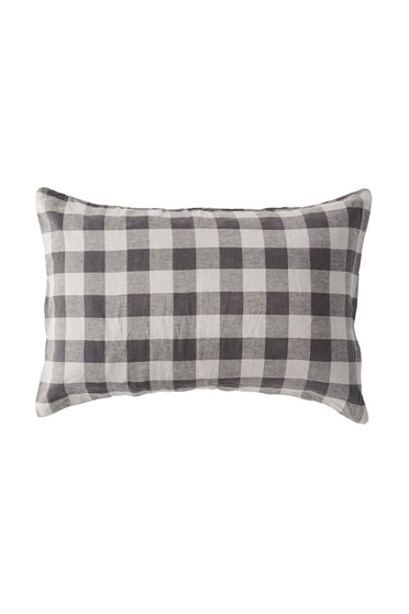 SOCIETY OF WANDERERS LICORICE GINGHAM PILLOW CASE SET