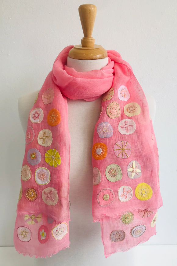 SOPHIE DIGARD PINK OUTCAST HALF EMBROIDERED SCARF 55x160CM