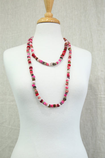 SOPHIE DIGARD DALESBRED PINK POMPOM NECKLACE