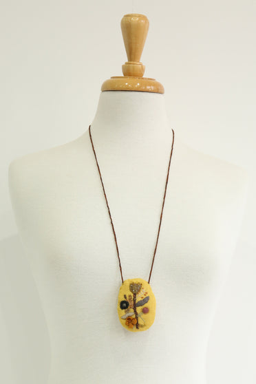 SOPHIE DIGARD QUOTIDIEN OVAL PENDANT NECKLACE AMBER