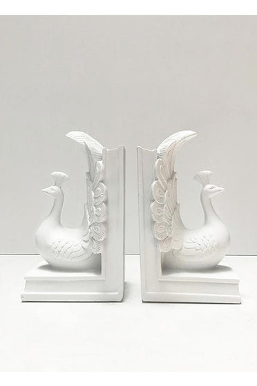WHITE MOOSE PEACOCK BOOKEND WHITE