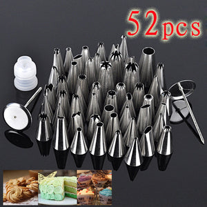 52pcs Stainless Steel Icing Piping Pastry Fondant Cake Decorating Sugarcraft Nozzle Tips Set DIY Tools with plastic case