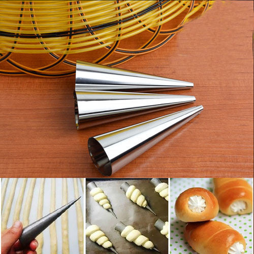 3pcs Stainless Steel Cream Horn Mold Pastry Dessert Baking Cases Forms