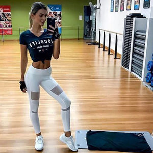 Mesh White Sexy Fitness Leggings