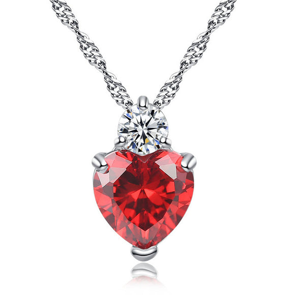 Heart Pendant Chain Necklace Ruby / Diamond / Amethyst