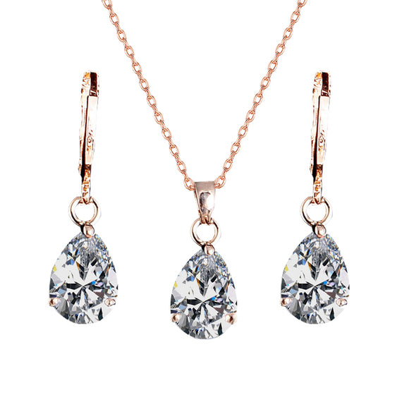 Diamond Waterdrop Pendant Necklace & Earrings Set