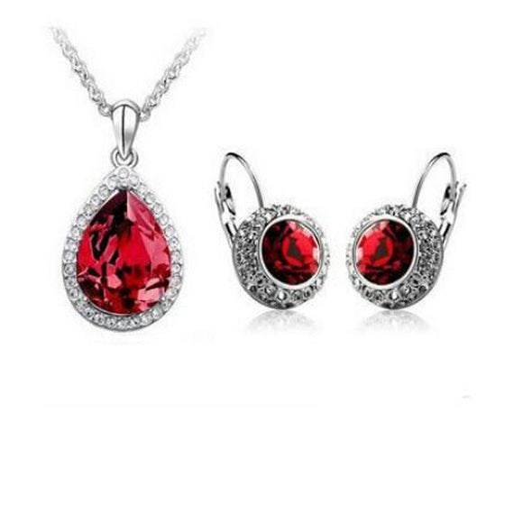 Austrian Crystal Pendant Necklace & Drop Earrings Set