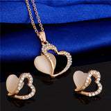 Gold Romantic Heart Crystal Pendant Necklace & Earrings Set