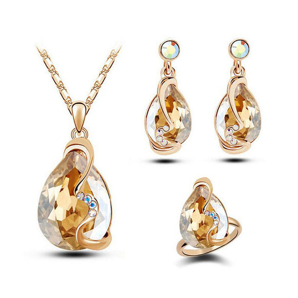 Stone Charm Water Drop Necklace & Earring Set