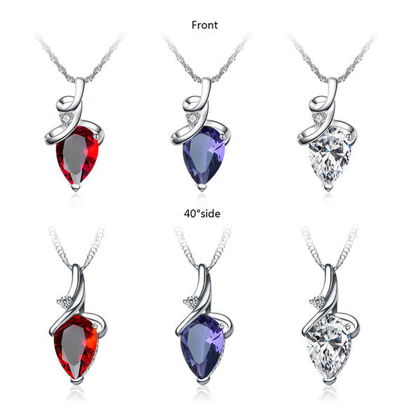 Diamond & Crystal Pendant Chain Necklace